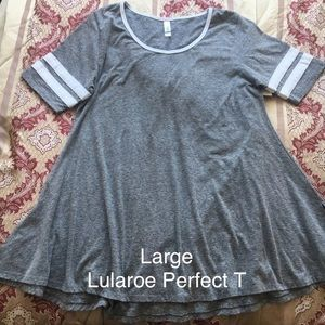 ✨ New LuLaRoe PERFECT T TEE Top LARGE Grey White ✨